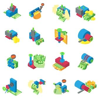 Conjunto de ícones de extração de metal, estilo isométrico