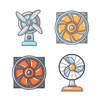Conjunto de ícones de fã. conjunto de desenhos animados de ícones do vetor de ventilador conjunto isolado