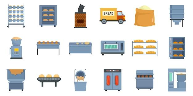 Conjunto de ícones de fábrica de padaria
