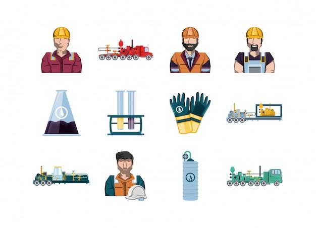 Conjunto de ícones de fábrica isolada