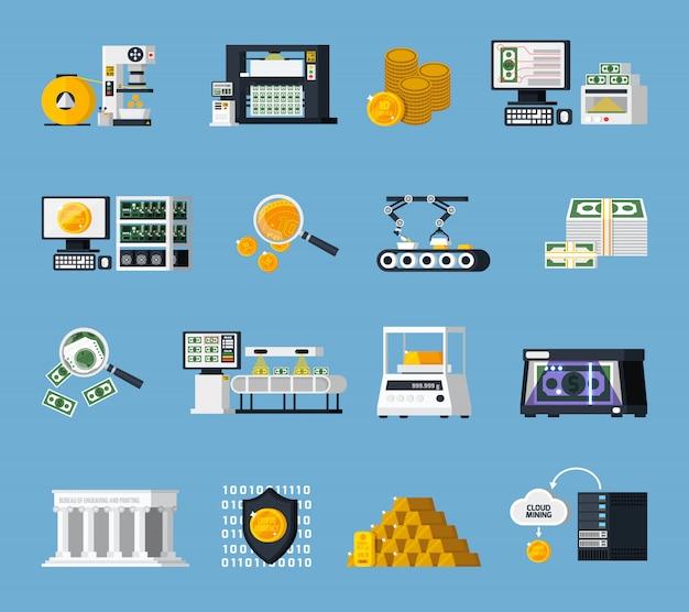 Conjunto de ícones de fabricação de dinheiro
