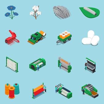 Conjunto de ícones de fabricação de têxteis