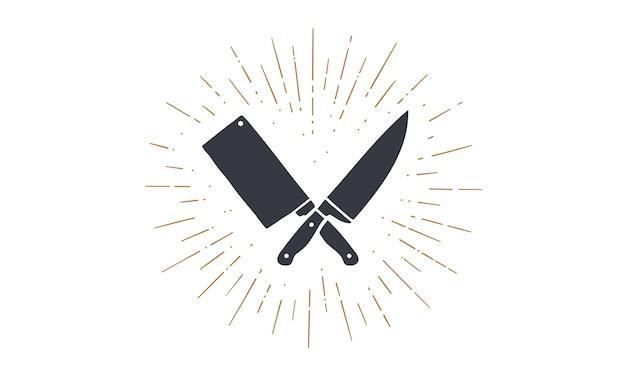 Conjunto de ícones de facas de restaurante. silhueta duas facas de açougueiro