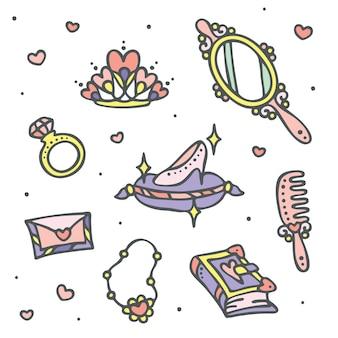 Conjunto de ícones de fadas e princesa