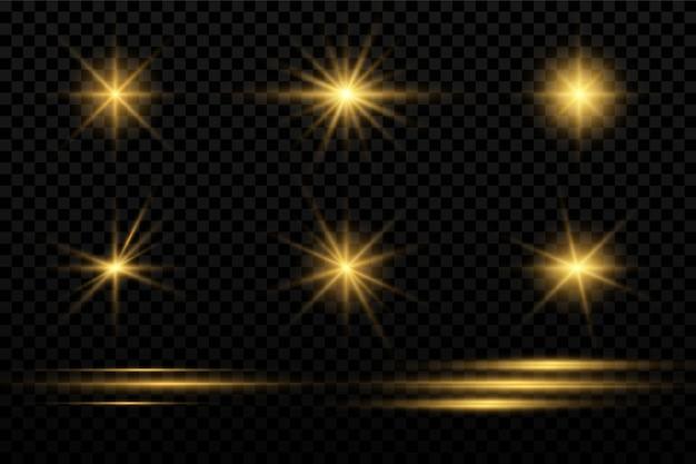 Conjunto de ícones de faíscas e estrelas,