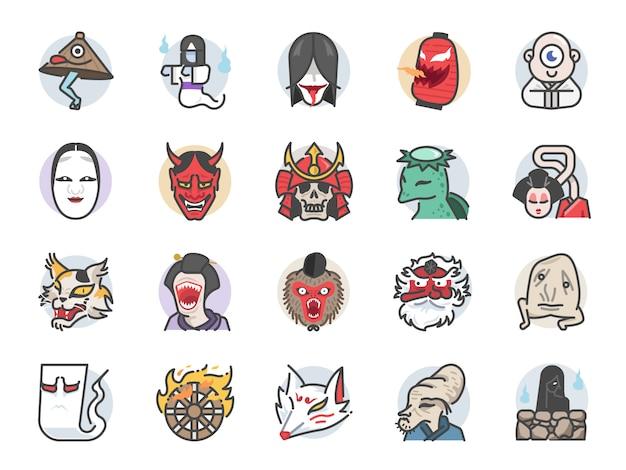 Conjunto de ícones de fantasma japonês.