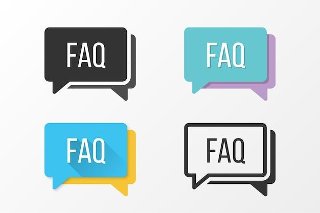Conjunto de ícones de faq em diferentes estilos