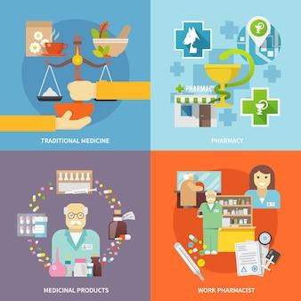 Conjunto de ícones de farmacêutico