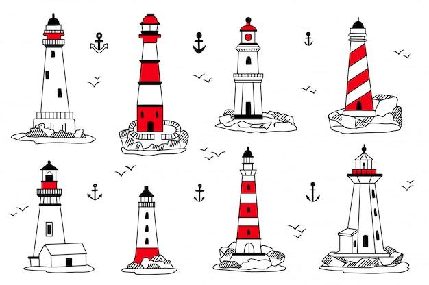 Conjunto de ícones de faróis