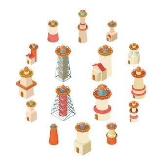 Conjunto de ícones de farol, estilo isométrico