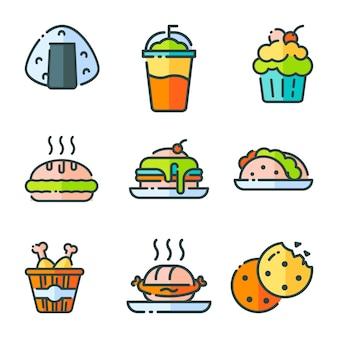 Conjunto de ícones de fast food de vetor