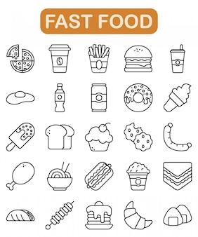 Conjunto de ícones de fast-food, estilo de estrutura de tópicos