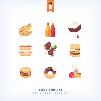Conjunto de ícones de fast-food no fundo branco