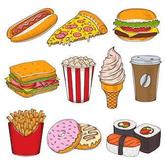 Conjunto de ícones de fast-food vintage mão desenhada.