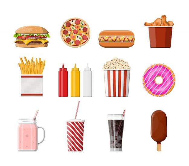 Conjunto de ícones de fast-food.