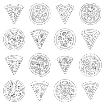 Conjunto de ícones de fatia de pizza