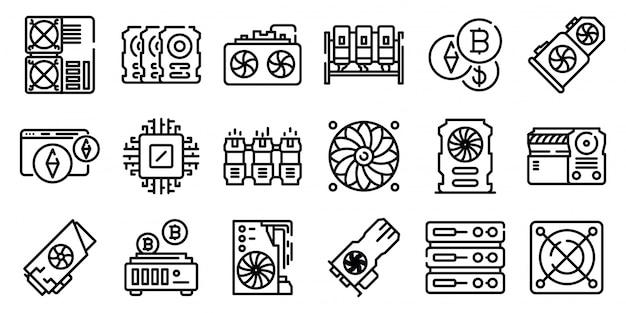 Conjunto de ícones de fazenda de mineração, estilo de estrutura de tópicos