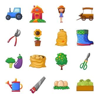 Conjunto de ícones de fazenda dos desenhos animados, limpeza da fazenda agrícola.