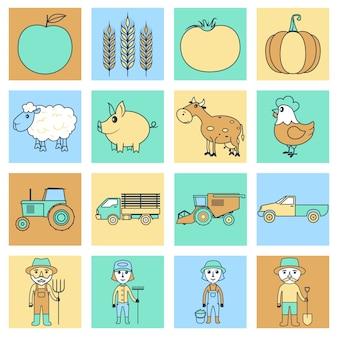 Conjunto de ícones de fazenda linha plana