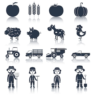 Conjunto de ícones de fazenda preto