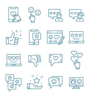 Conjunto de ícones de feedback com estilo de estrutura de tópicos