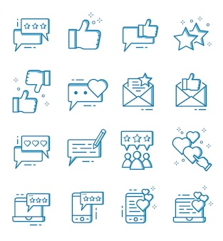 Conjunto de ícones de feedback e revisão com estilo de estrutura de tópicos
