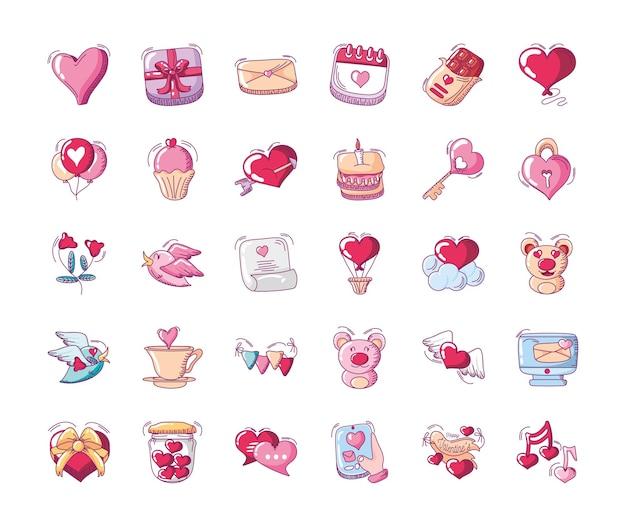 Conjunto de ícones de feliz dia dos namorados, coração urso balão bolo cupcake chave cadeado flor pássaro mão desenhada estilo ilustração vetorial