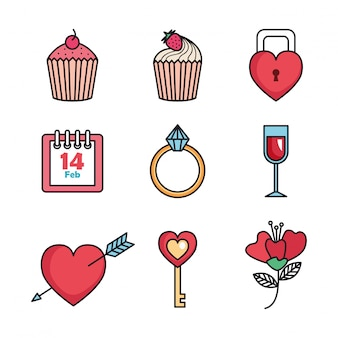 Conjunto de ícones de feliz dia dos namorados