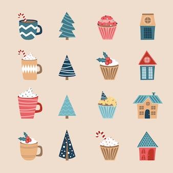 Conjunto de ícones de feliz natal. ícones de férias. copos, cupcakes, casas e árvores