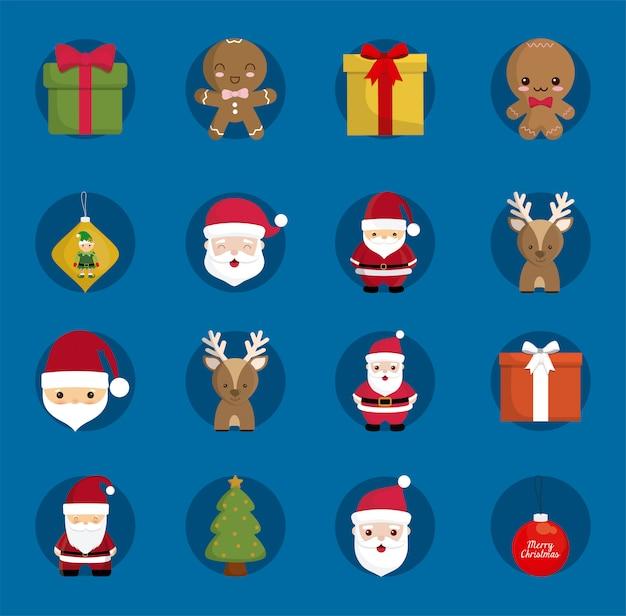 Conjunto de ícones de feliz natal