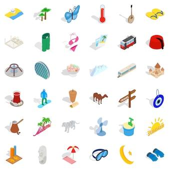 Conjunto de ícones de férias de mar, estilo isométrico