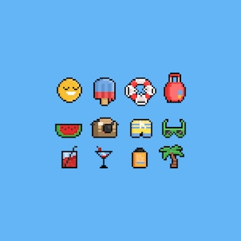 Conjunto de ícones de férias de verão de desenho de pixel.