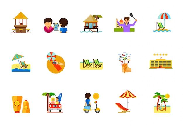 Conjunto de ícones de férias