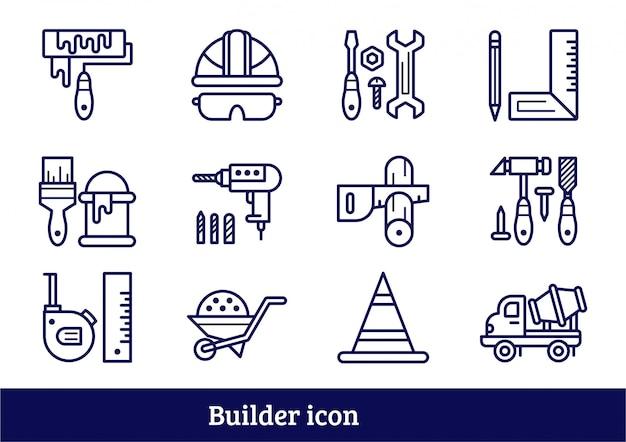 Conjunto de ícones de ferramenta de construtor