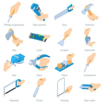 Conjunto de ícones de ferramenta de preensão de mão. ilustração isométrica de 16 ícones de vetor de frascos de perfume para web
