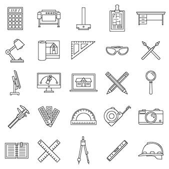 Conjunto de ícones de ferramenta material arquiteto