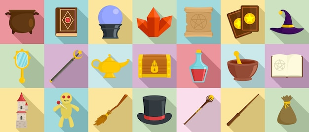 Conjunto de ícones de ferramentas de assistente