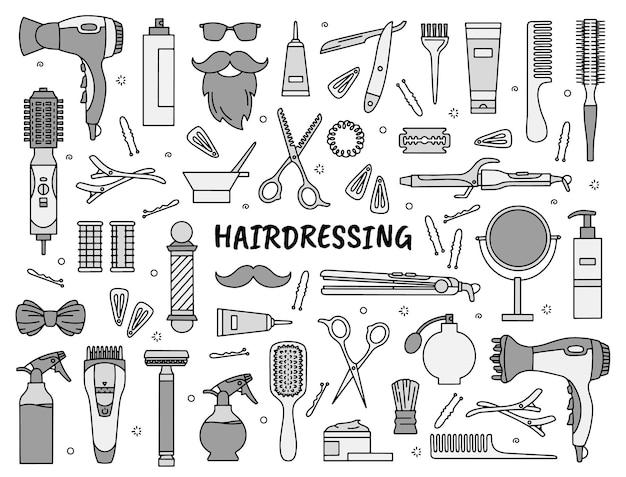 Conjunto de ícones de ferramentas de cabeleireiro e barbearia no estilo doodle para salão de beleza