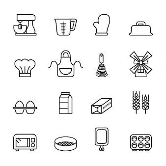 Conjunto de ícones de ferramentas de cozedura