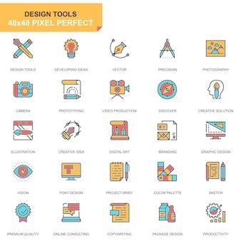 Conjunto de ícones de ferramentas de design de linha plana