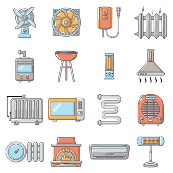 Conjunto de ícones de ferramentas de fluxo de ar fresco de calor