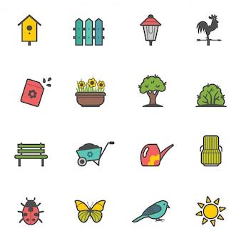 Conjunto de ícones de ferramentas de jardim e acessórios