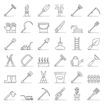 Conjunto de ícones de ferramentas de jardinagem, estilo de estrutura de tópicos