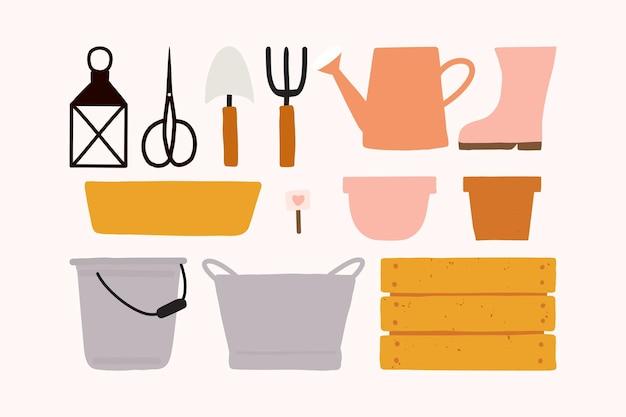 Conjunto de ícones de ferramentas de jardinagem isolado no branco