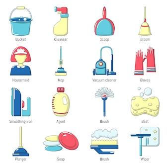 Conjunto de ícones de ferramentas de limpeza