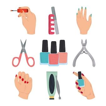 Conjunto de ícones de ferramentas de manicure, mãos femininas, esmalte, tesoura, cortador e creme em ilustração de estilo cartoon