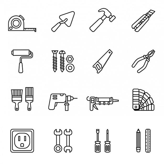 Conjunto de ícones de ferramentas de reparação e construção.