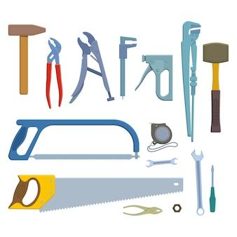 Conjunto de ícones de ferramentas de reparo.