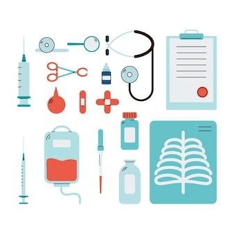 Conjunto de ícones de ferramentas e instrumentos médicos isolados de forma plana