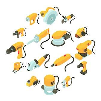 Conjunto de ícones de ferramentas elétricas, estilo de desenho isométrico
